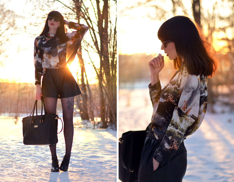 Fabros bag Mango shirt Zara shorts Topshop boots snow sunset CATS & DOGS fashion blog Berlin 4