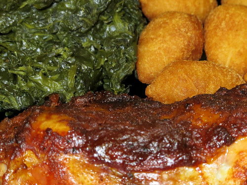 BBQ chicken with spinach and fried mashed potatoes by Coyoty
