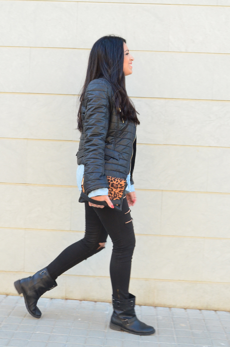 florenciablog look rocker broken jeans inspiration leopard clutch stradivarius how to wear broken jeans (9)