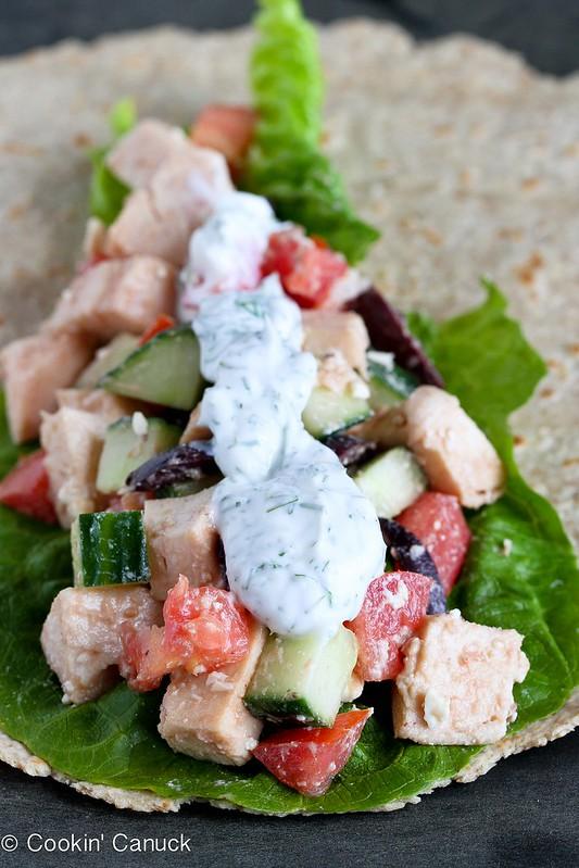 Low-Fat Greek Chicken Salad Wrap Recipe | cookincanuck.com #recipe #chicken