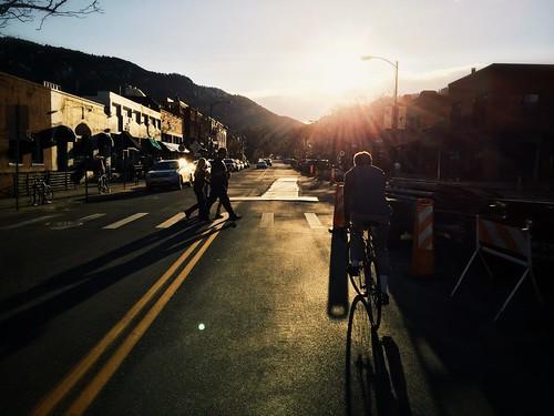street winter sunset construction colorado boulder crosswalk dailies pearlstreet 2014 iphone5s