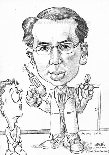 Urologist surgeon pencil caricature for APHL