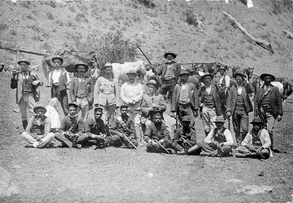 The hunt for the Governor gang of bushrangers. A posse of mounted police, aboriginal trackers and district volunteers. Jimmy & Joe Governor were sighted at Stewarts Brook on 12 September 1900 - Stewarts Brook, NSW