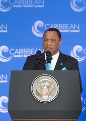 Prime Minister Perry Christie of The Bahamas delivers remarks at the Caribbean Energy Security Summit, at the U.S. Department of State in Washington, D.C., on January 26, 2015. [State Department photo/ Public Domain]