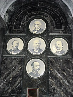 Sepulchre of the painter Filippo Palizzi (1818-1899, centre) with the portraits of his brothers Nicola (1820-1870, left), Francesco Paolo (1825-1871, right), Giuseppe (1812-Paris 1888 - Père Lachaise - above) and Camillo (under) - Cemetery of Santa Maria