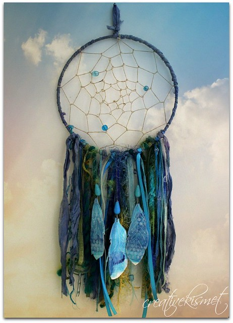 dream catcher with paper feathers