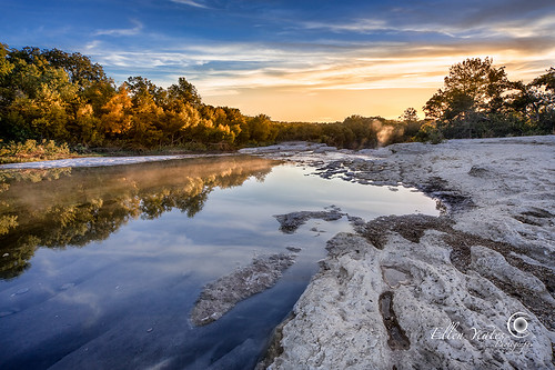 statepark park morning autumn usa reflection fall nature water fog sunrise canon austin landscape photography ellen texas state mark picture steam foliage 5d 111 lower foilage mckinney mckinneyfalls yeates warmcolor timeofday ellenyeates mckinneyfallssunrise
