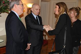 "Ambassador O'Malley hosts The Sopranos"" creator David Chase at his residence"