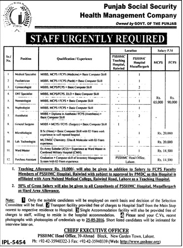 Punajb Social Security Health Management Company Jobs 2016