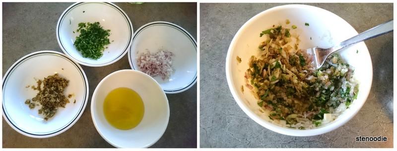 Making an herb salsa