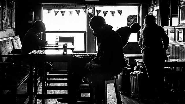 At the pub dublin ireland black and white street photography