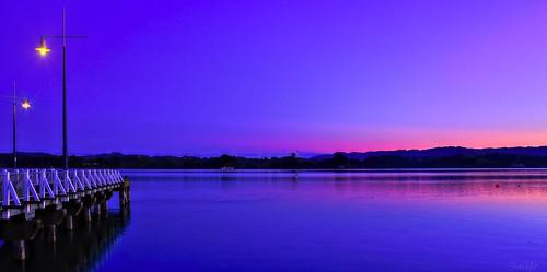 dusk sunset water harbour ohope port wharf light lights outdoor landscape waterscape serene tranquil shore sky seaside
