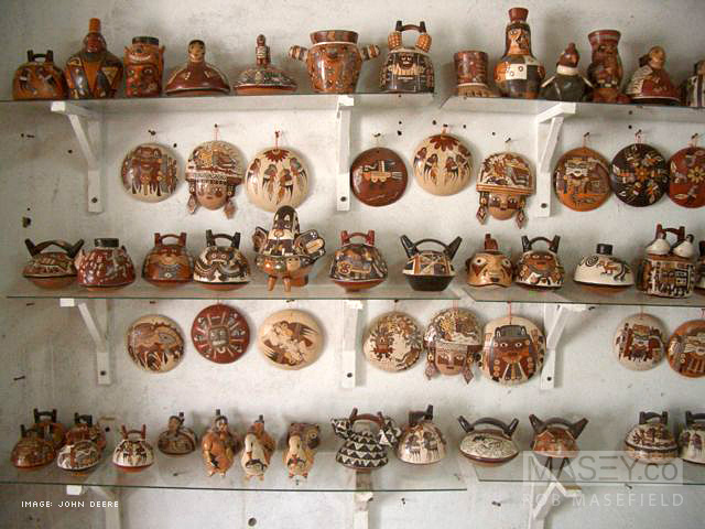 A selection of hand crafted Nazca pottery.