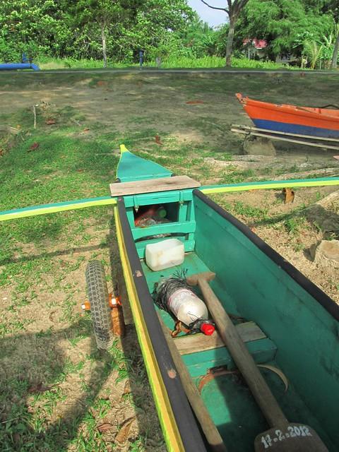 outrigger fishing canoe on Labuan Island, Malaysia