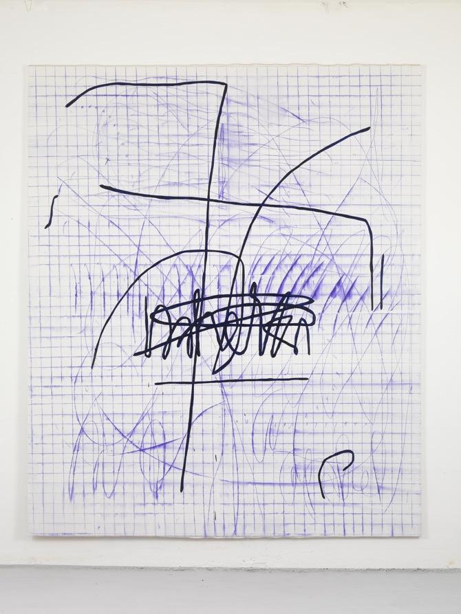 4 Jana Schröder, Spontacts, L 8, 2012, 240 x 200 cm, Kopierstift und Öl auf Leinwand, 2012