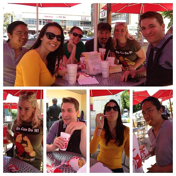 Chick-fil-A for a marriage equality celebration lunch! I wore a special tee. (Photo thanks to @bwalloch!)