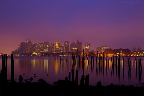 Boston Skyline Reflecting on Calm Harbor at Dawn, Carlton's Wharf East Boston by Greg DuBois Photography
