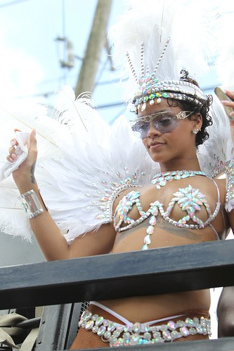 Rihanna wearing a extra sexy costume in Barbados Kadooment parade
