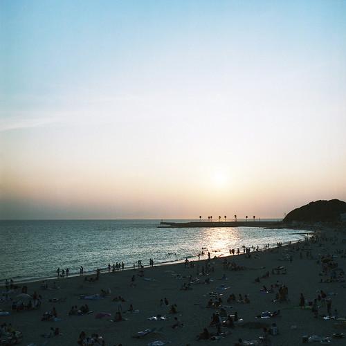 sunset sea film beach kodak c hasselblad portra planar 160 80mm carlzeiss 6×6 内海 503cxi