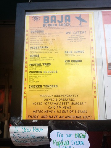 Baja Burger Shack menu. Voted best in Ottawa!