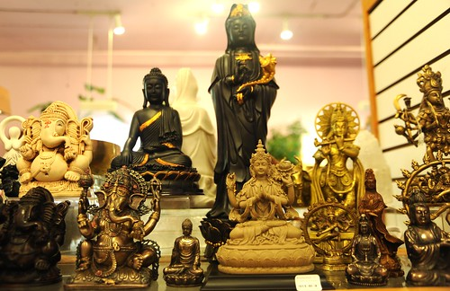Collection of Buddhas and religious statues, Ganesha / Ganpati, Lady Tara, Chenrayzi, Buddhist and Hindu statues, Olympia, Washington, USA by Wonderlane