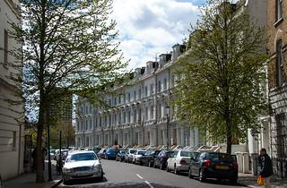 Façades de grandes maisons, Ladbroke Crescent, Notting Hill