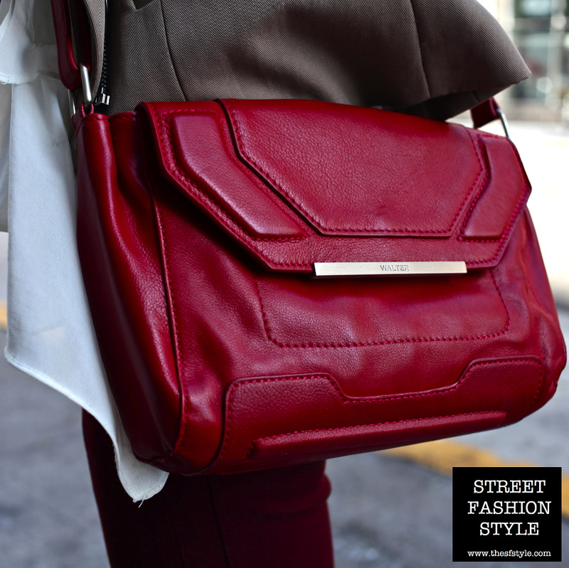 red crossbody bag, walter baker bag, street fashion style, san francisco fashion blog, red purse,