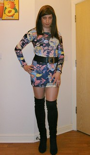 Knee boots, supergirl dress