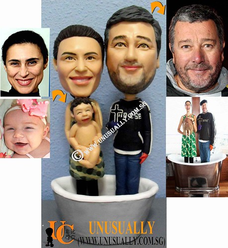 Fully Customized Family Of 3 Lovely Figurines - @www.unusually.com.sg