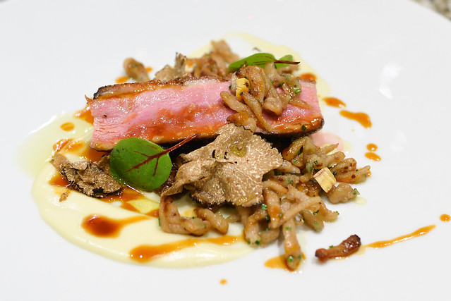 HONEY GLAZED DUCK BREAST chestnut spätzle, braised cabbage, truffles