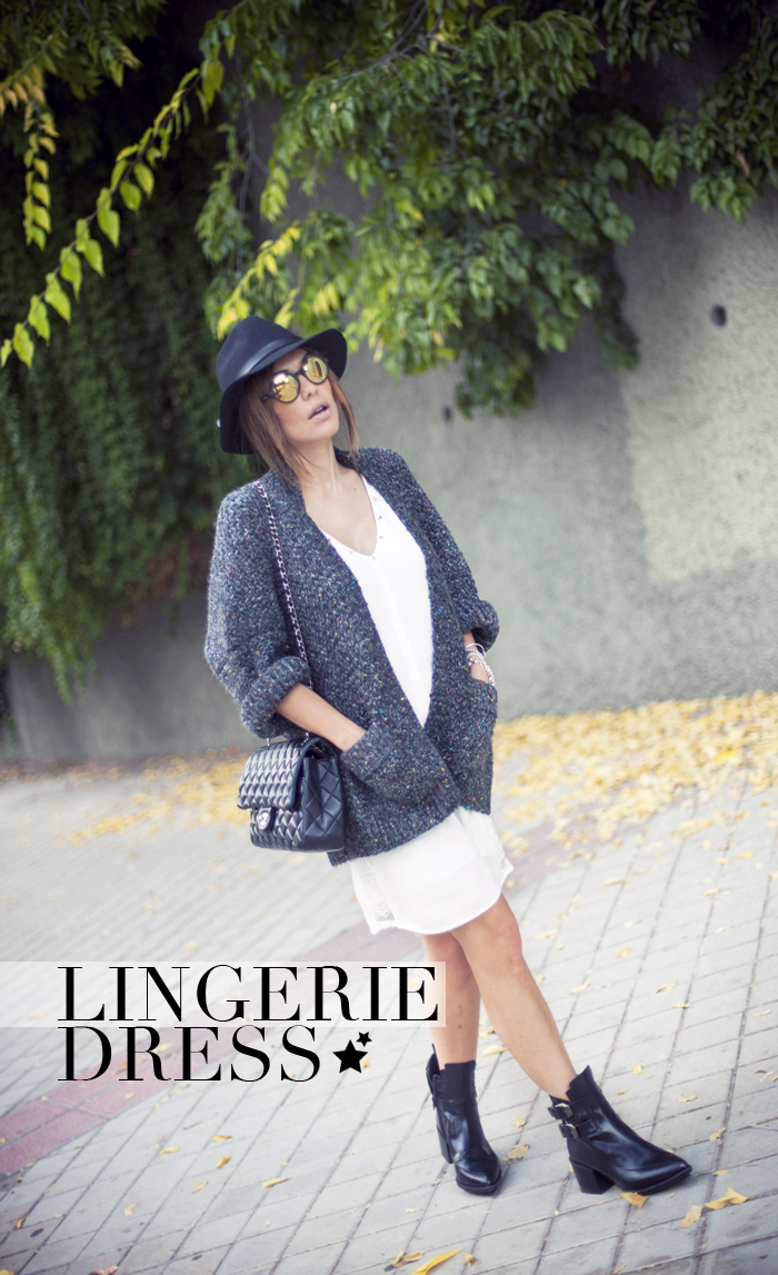street style barbara crespo lingerie dress the corner cardigan zara boots outfit