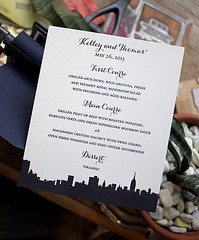 Letterpress Menu with New York City Skyline