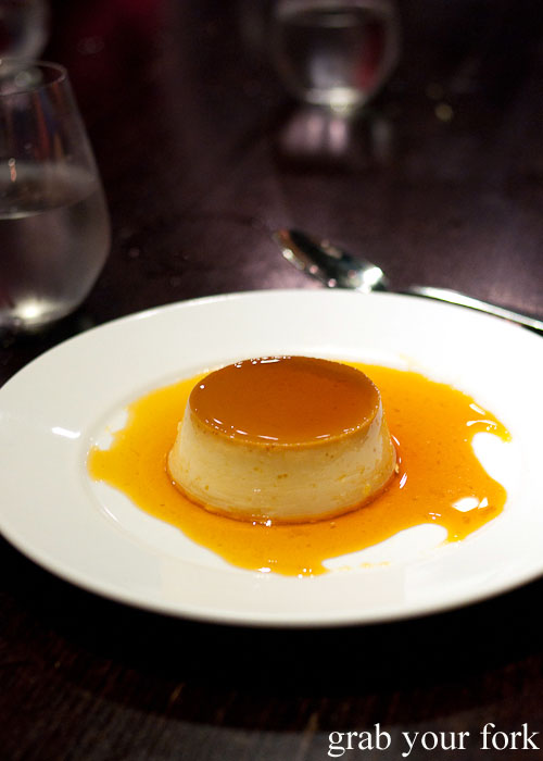 Creme caramel dessert at Fix St James, Sydney