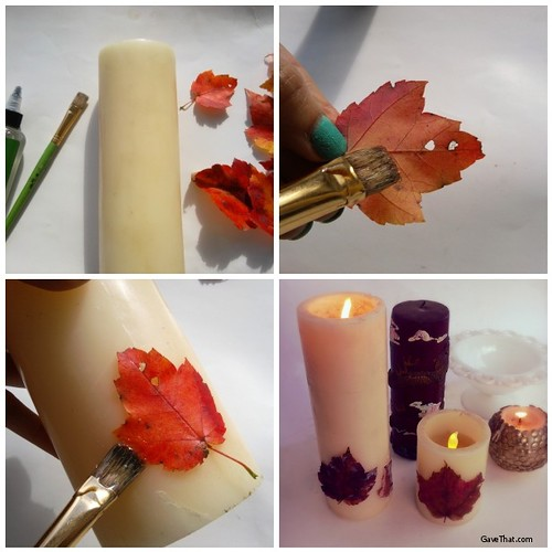 DIY Falling Leaves Candles