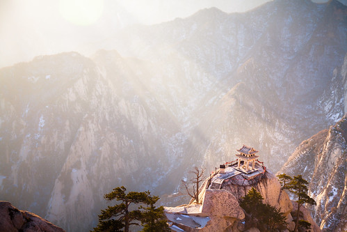 winter sun mountain snow architecture chinese pavilion rise shaanxi 日出 huashan 华山