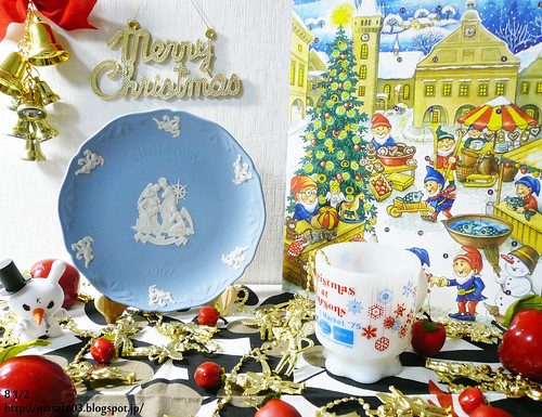 Wedgwood Christmas Plate and Fire King Christmas Mug