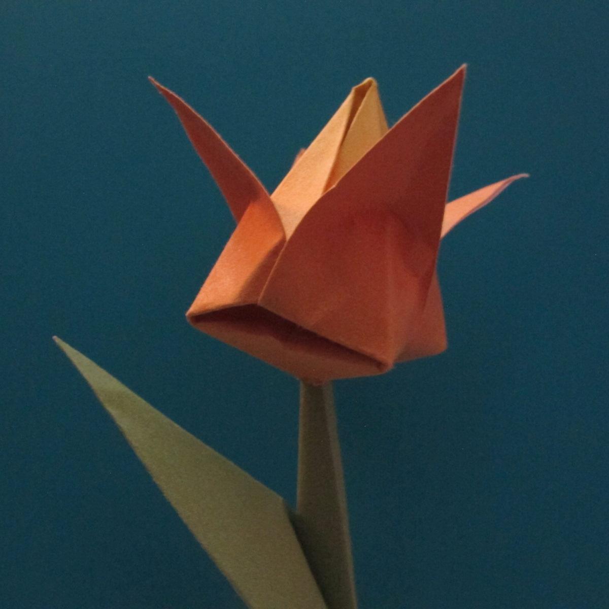 วิธีพับกระดาษเป็นดอกทิวลิป 027