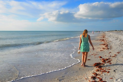 sunset usa shells southwest green beach water girl walking landscape mexico island gulf dress florida horizon sunny palm shore shelling beachcomber beyondhue