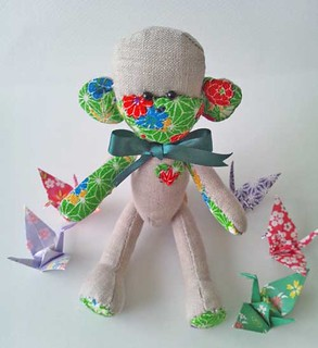 Japanese Sock Monkey-esque Fabric Monkey with Origami Cranes