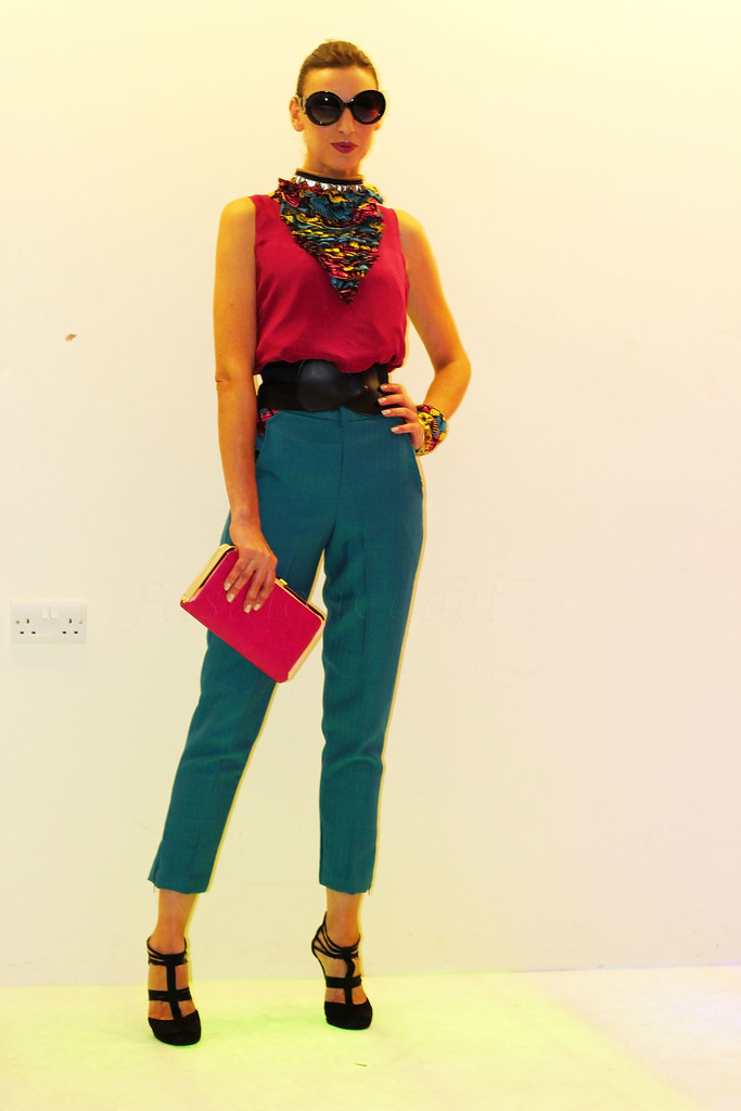 Kitenge Ankara African Print Cropped Trousers With Burgundy Top Kitenge Ankara African Print Bangles Necklace Fashioncadet
