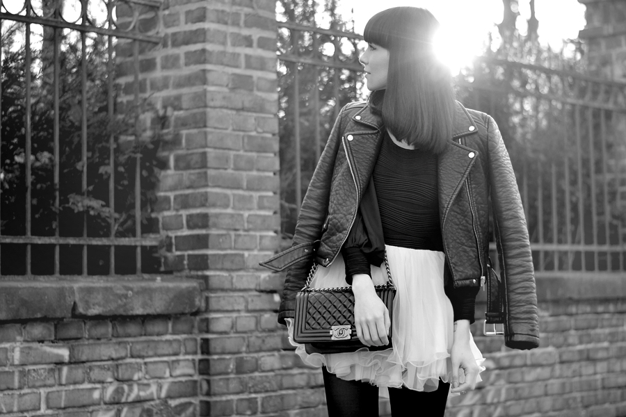 Chicwish dress Chanel Le Boy bag Zara leather biker spring outfit look ootd CATS & DOGS fashion blog Berlin 6