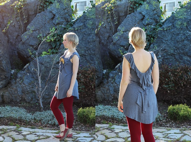 grey dress with ruffles, burgundy leggings #outfit #ootd