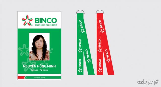 Thiết kế thẻ đeo và dây đeo thẻ nhân viên công ty tư vấn du học BINCO