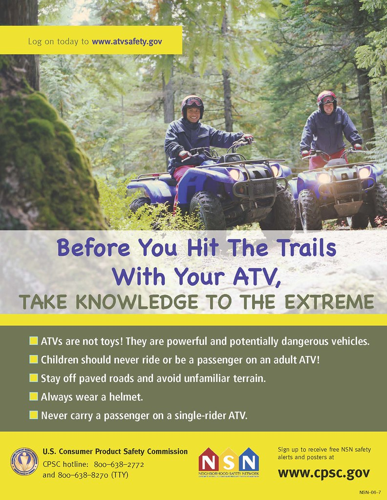 Poster of adults riding ATVs