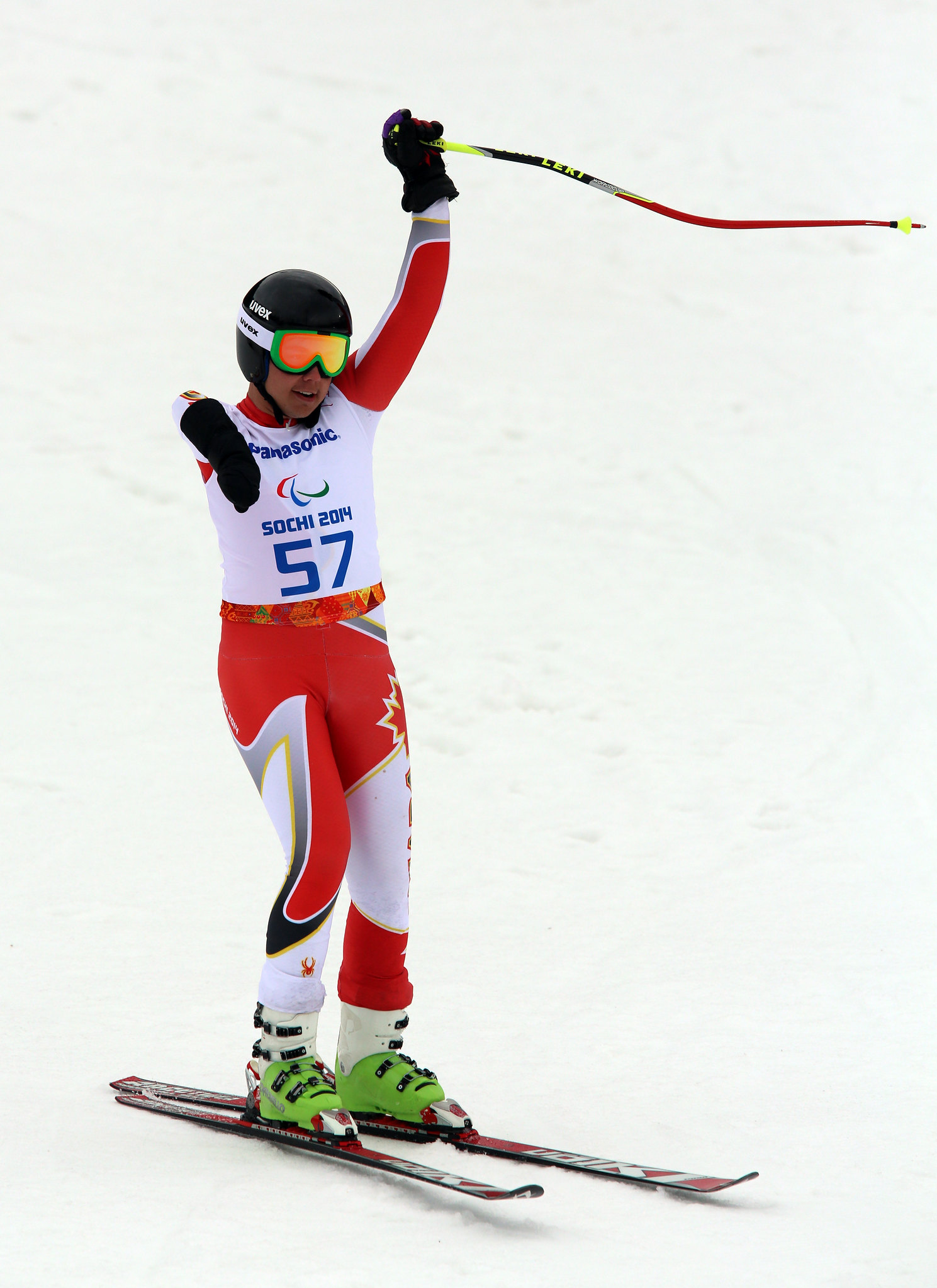 Kirk Schornstein competes in the super combined at the 2014 Paralympic Winter Games