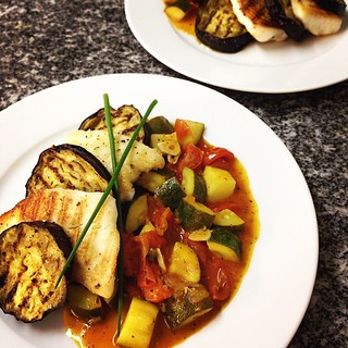 Grilled Eggplant and Tilapia with Cherry Tomato Zucchini veggies with herbs. That was delicious dinner!