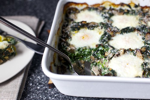 baked eggs with spinach and mushrooms | smitten kitchen