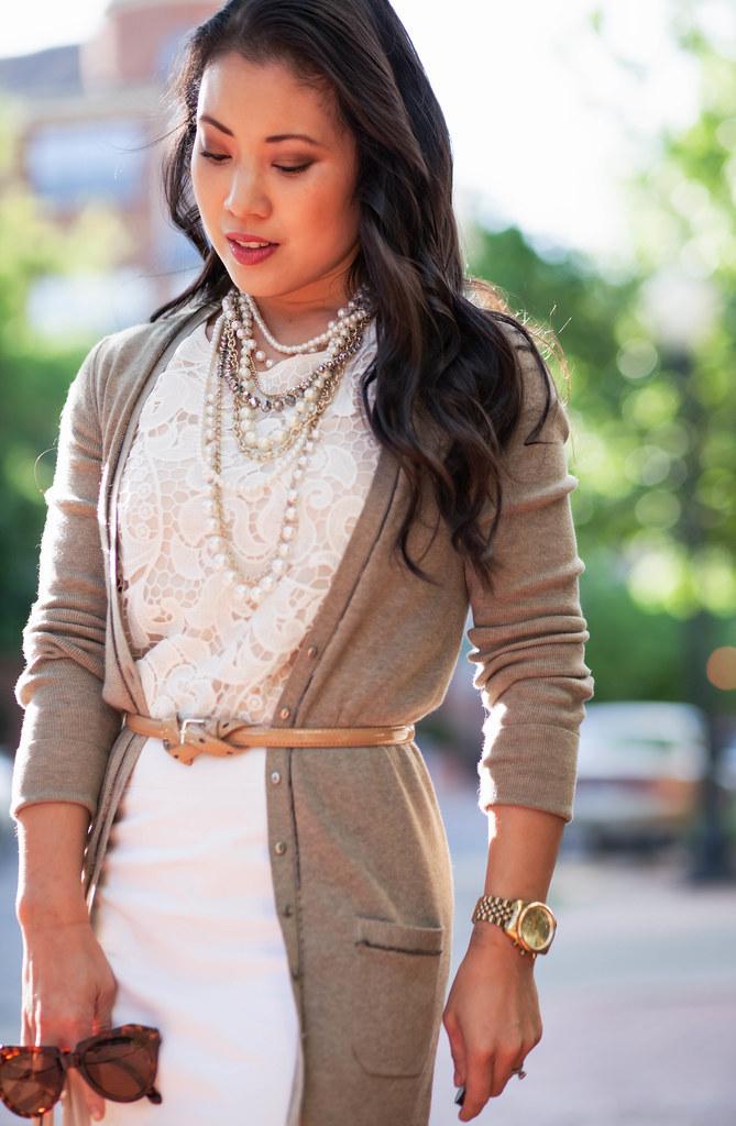 cute & little blog | petite fashion | boyfriend cardigan, lace crochet top, pearl necklace, white pencil skirt | neutral spring outfit