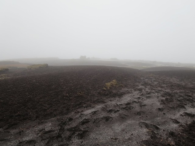 View towards Kinder Low trig point from summit plateau, cloud coming down, Kinder Scout, Peak District