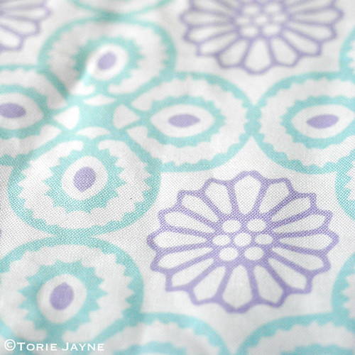 Yasmine tile print in Lavender:Duck egg blue